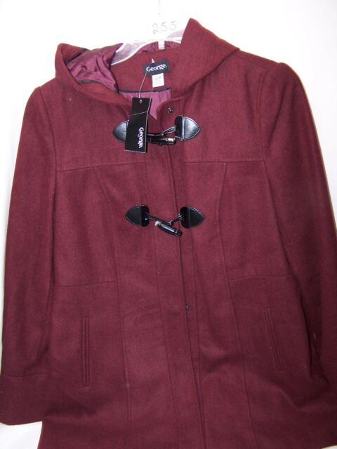 d0408223bbd George Womens Dress Jacket 14 WINE Casual Coat Toggle Button Hooded ...