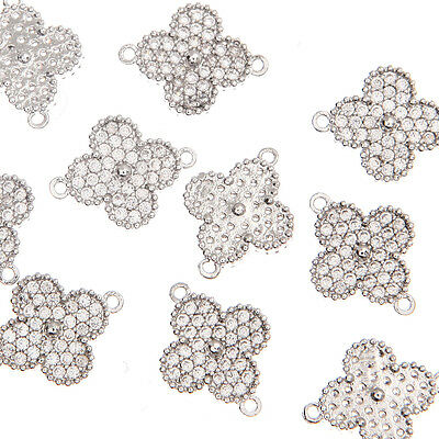 Cubic Zirconia Clover Flower Metal Beads Pendants Connectors Links Charms #118