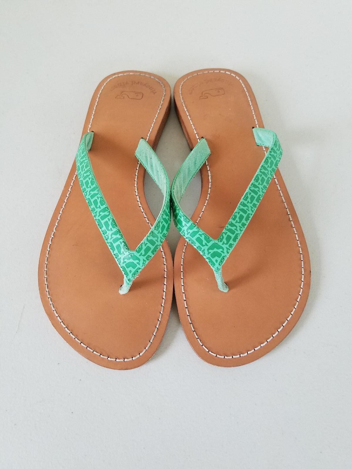 Vineyard Vines Flop Green Leather Flip Flop Vines Sandals Size 9 aac674