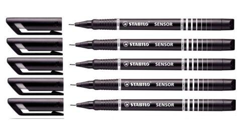 5x STABILO Fineliner SENSOR Tintenschreiber Filzstift F 0,3 mm schwarz II