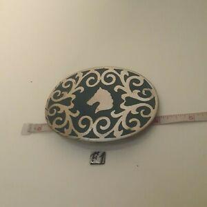 Vintage-Frontier-Buckles-Nickle-Silver-4-034-Horse-Head-Belt-Buckle