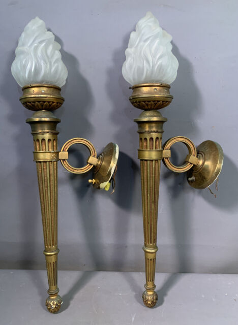 LG Pair (2) Antique FRENCH BRASS Old FLAMING Glass TORCH Style WALL SCONCES