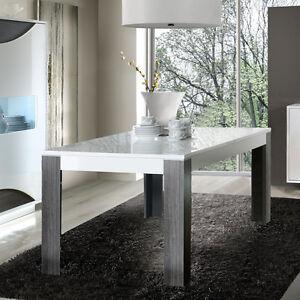 Esstisch weiß 160 ausziehbar  Esstisch Wave Tisch Esszimmertisch weiß hochglanz Eiche grau ...