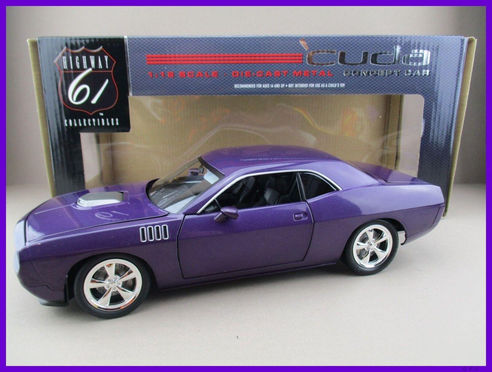 Plymout CUDA CONCEPT voiture  in violet Highway 61 Scale 1 18 OVP nouveau  haute qualité authentique