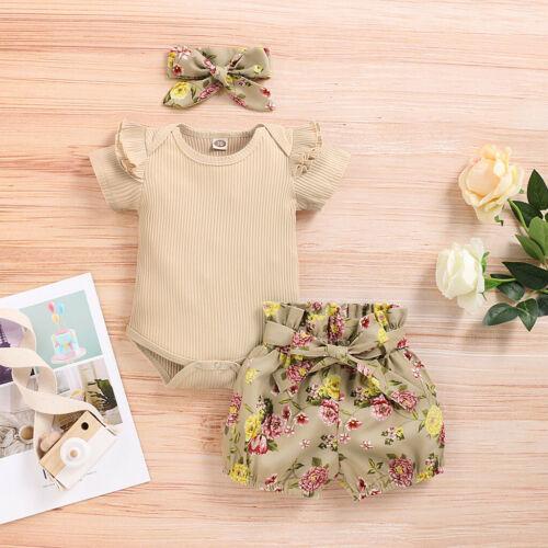 Newborn Kids Baby Girls Outfits Clothes Romper Bodysuit+Flower Print Shorts Set