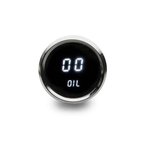 Universal Digital Oil Pressure Gauge White LEDs Chrome Bezel Lifetime Warranty