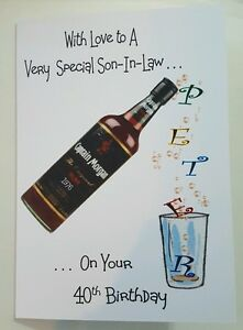 Image Is Loading Personalised 40th Birthday Card Son In Law Bottle