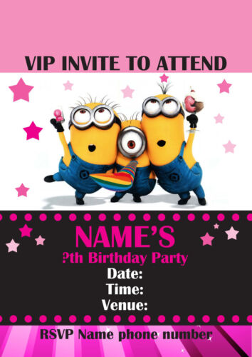 Personalised Minions VIP Pass Lanyard for Birthday Party Invite