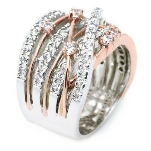 Elegant Shiny Crystal Rose Golden White Color Ring for Anniversary Party N7