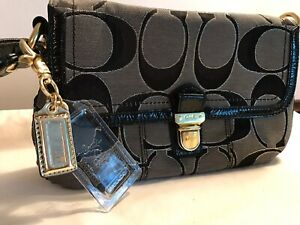 Coach-Poppy-Glam-Signature-C-Satchel-Handbag-Gray-Black-Patent-Trim