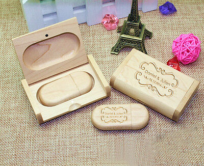 Personalized Oval Wood USB Flash Drive /& Box Bundle Wedding Gifts Wedding USB