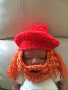 Details about crochet 0-3 month baby tamashanta tam o shanter scottish hat    beard fancy dress 67b58599aaa