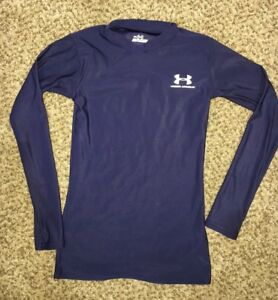 Men's Clothing Under Armour Heat Gear Long Sleeve Compression Shirt Large Navy Blue Non-Ironing Clothing, Shoes & Accessories