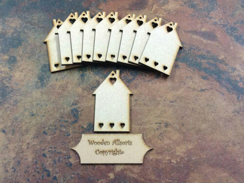 10 X Mdf casa de madera casa formas etiquetas 90mm X 60 mm Con Agujero Craft