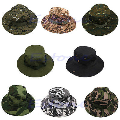 Combat Sun Hat Camo Ripstop Army Military Boonie Bush Jungle Cap Hiking Fishing
