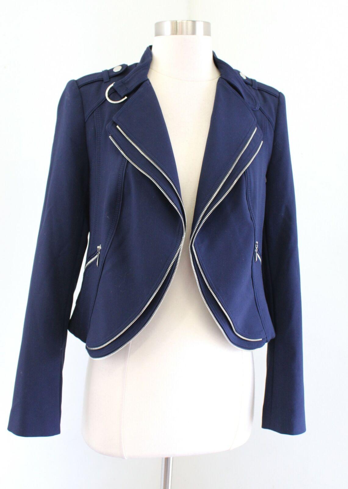 White House Black Market Navy Blue Zipper Accent Open Moto Jacket Crop Size 4
