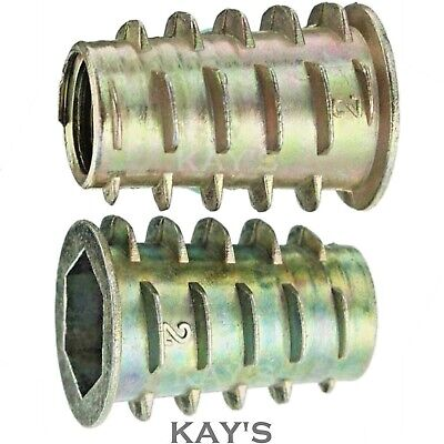 TYPE E M4 M5 M6 M8 HEX DRIVE SCREW IN THREADED INSERT BUSHING FOR WOOD ZINC