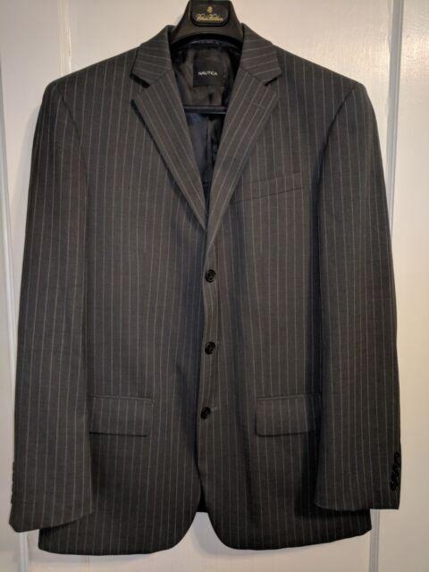 Men's 2 Pc Suit by Nautica Gray Striped 3-button - size Coat 42L with Pants 34L