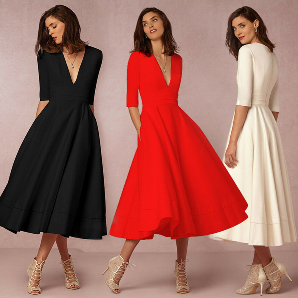 Women Solid Deep V-Neck Half Sleeve Party Cocktail Evening Formal Midi Dress Clothing, Shoes & Accessories