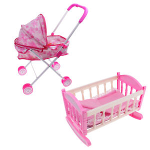 """Crib Baby Doll Bed /& Stroller for 9/""""-11/"""" Reborn Girl Doll Kids Playset Toy"""