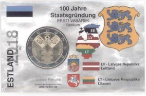 2-Euro-COINCARD-info-card-Estonia-2018-independence