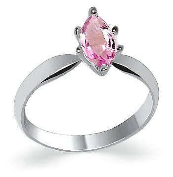 Sterling Silver Pink ice Cubic Zirconia Marquise Cut Solitaire CZ Ring Size 5,10