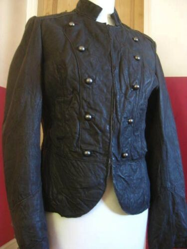 Goth Uk Cavalry Leather Steampunk Next 10 Jacket Size Ladies Military Brown Real PwSpnqTx