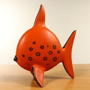 Alte-Fisch-Keramik-Skulptur-Hoehe-28-cm-Vintage-60er-70er-Jahre-evtl-Ruscha