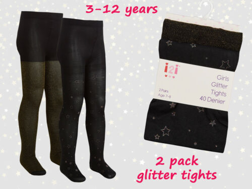 New Girls 2 Pack Sparkle Glitter Star Tights Opaque 40 Denier Soft Party Tights
