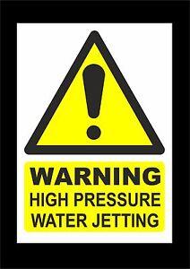 Warning High Pressure Water Jetting Hazard Sign Or Sticker