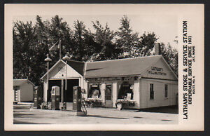 Postcard RPPC Jay Maine Latham's Store & Gulf Service Station/Old Gas Pumps/Day