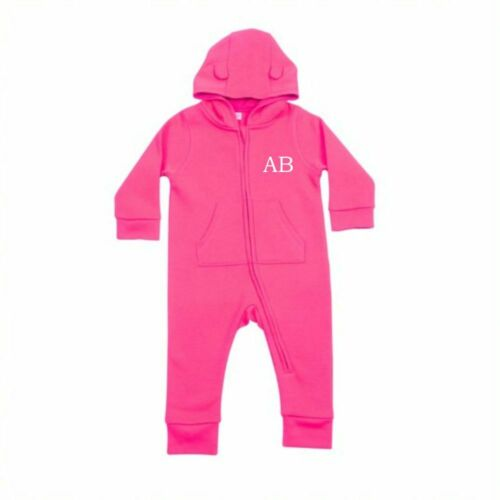 Personalised Initials Baby Hooded All In One Toddler Romper Loungewear Custom