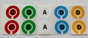 CROWN GREEN/LAWN/INDOOR/SHORT MAT BOWLS INITIAL ID MARKERS STICKERS (SET OF 4)