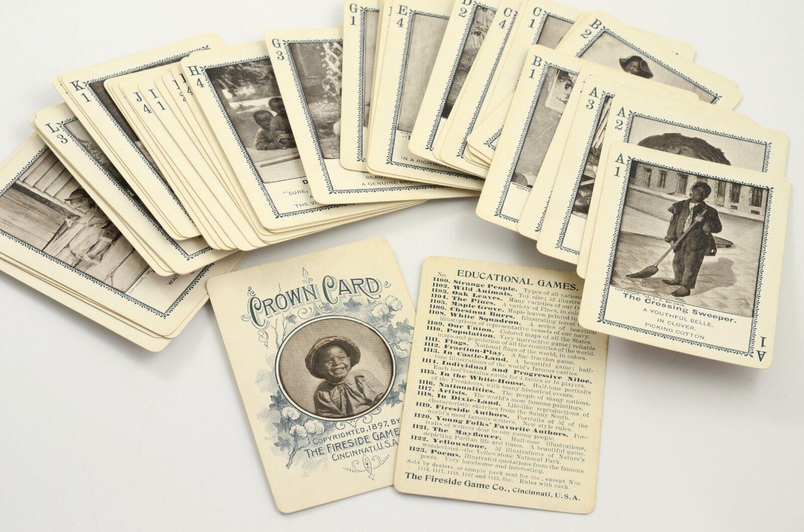 1897 ancien jeu de cartes  éducatif  USA populations blackes américaines FIRESIDE