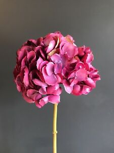 Extra Large Hot Pink Faux Silk Mophead Hydrangea Realistic