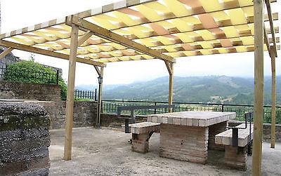 Pergola libera 5x3,gazebo in legno impregnato da esterni, legno pretrattato