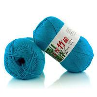 light blue Bamboo Knit Crochet Knitting Yarn Baby Cotton Wool Yarn 50g