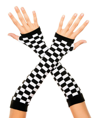 Music Legs 494 Elbow Length Checker Board Arm Warmers