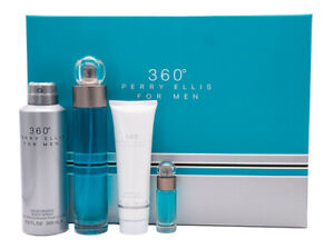 360 By Perry Ellis 4pc Gift Set for Men 3.4 oz EDT + Shower Gel Deodorant Mini