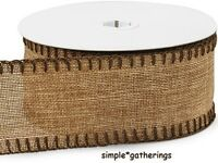 Natural Burlap Ribbon With Chocolate Blanket-stitched Edges 10 Yards By 2 1/2