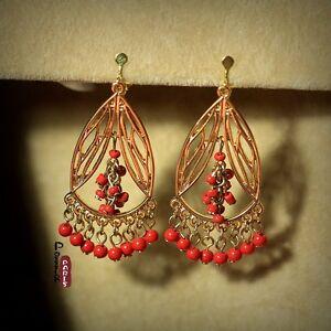 Orecchini`Orecchie Clip Mini Perla Rosso Dorato Con aperture Tassel Frange