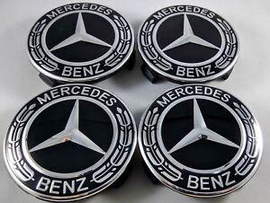 2018-4x-Mercedes-Benz-Alloy-Wheel-Centre-Caps-75mm-Badges-ALL-BLACK-Hub-Emblem-b