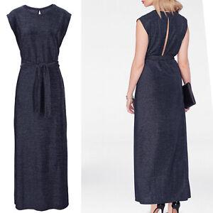 WOW Marken Abendkleid WOW Gr.36 S nachtblau silber Maxikleid Lang KLEID sexy