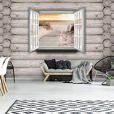 Vlies Fototapete 3D Strand Nordsee Meer Optik Fensterblick Holzoptik Wohnzimmer