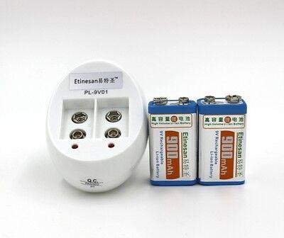 2pc Etinesan 900mAh 9v li-ion lithium Rechargeable 9 Volt Battery w/ charger set