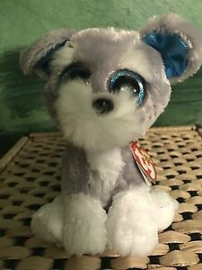"c54567a2494 Ty WHISKERS -Grey White Schnauzer Dog 6"" Beanie Boo!  Retired  RARE ..."