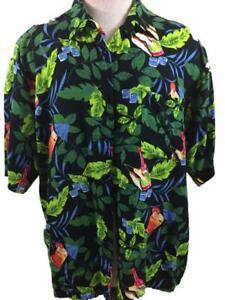 Puritan mens Hawaiian shirt size L large rayon leaves drinks green black