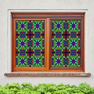 Details about  /3D Winter 1931NAO Window Film Print Sticker Cling Stained Glass UV Block Fa
