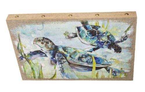 Ganz E9 Home Patio Decor Canvas Wall Plaque 23x15in Sea Turtle ER64071