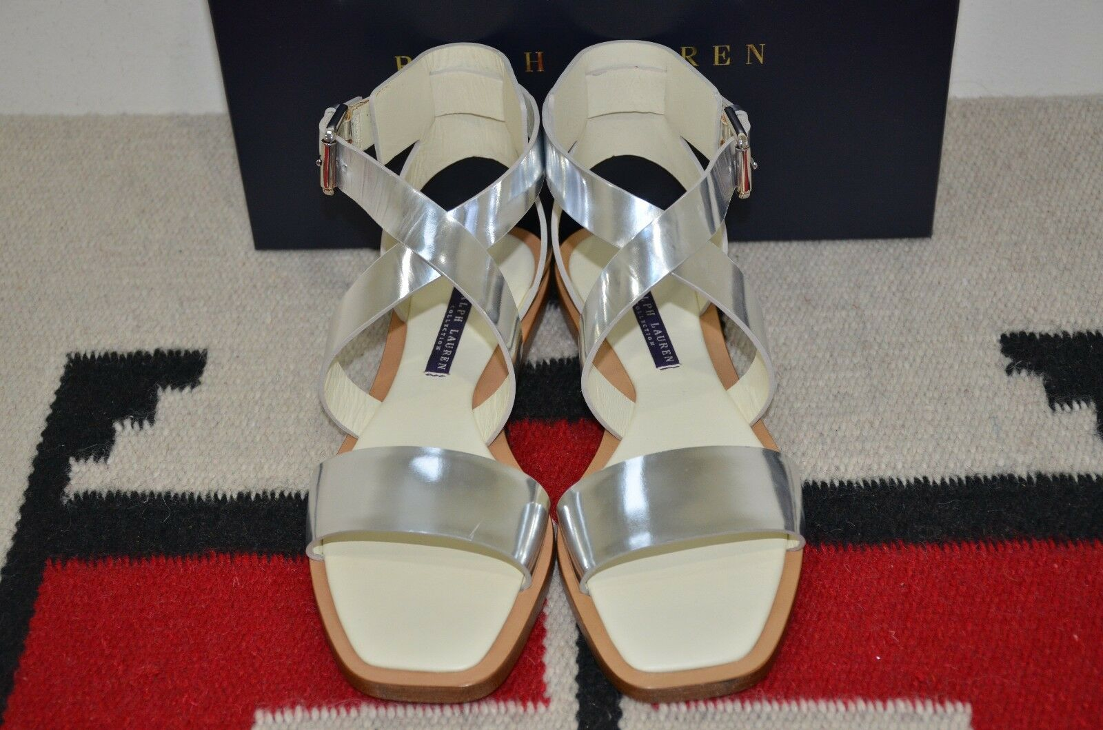 Ralph Lauren Collection Purple Label Made in  Flat Leather Sport Sandals 8